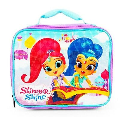 SHIMMER & SHINE Nickelodeon Girls PVC & Lead-Free Insulated Lunch Tote Box NWT