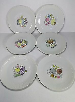 Hutschenreuther Selb Apart Pattern Salad Plates (6) with Fruit Designs for Pasco