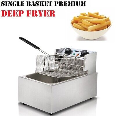 5 Star Chef Commercial Single Basket Electric Deep Fryer S/S Chips Fries Cooker