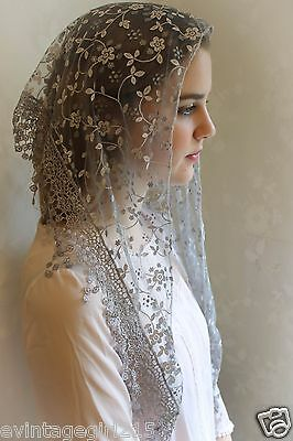 NEW Classic Mantilla Gray Embroidered Chapel Veil Triangle Free Ship