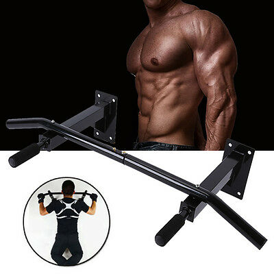 Wall Mounted Chin Up Pull Up Bar Trainer Power Training Gymnastic Suspension BLK