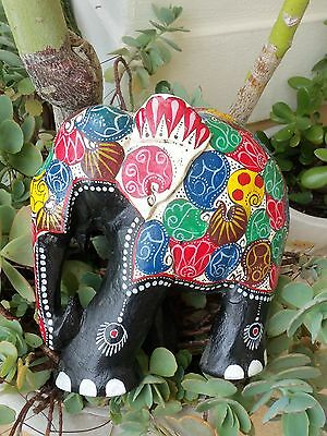 Vintage Solid Wood Carved Fabulous Colorful Art Work Handpainted Elephant
