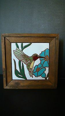 Hand Painted Hummingbird Tile Wall Hanging Trivet