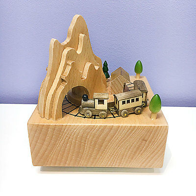 Rotating Wooden Music Box Christmas Gift Travel Train Mountain Country Home