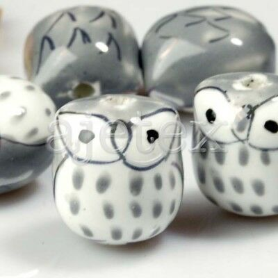 10pcs Handmade Porcelain Owl Spacer Loose Beads Wholesale 17x15mm Gray PB0005