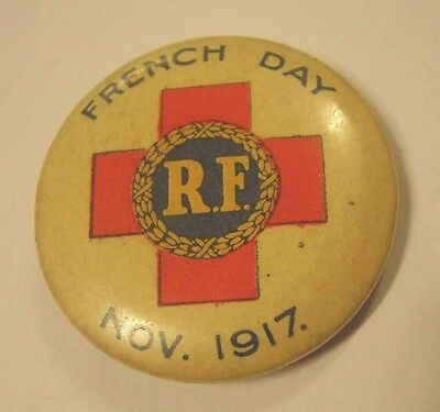 WW1 French Day 1917 Button Badge RF Red Cross