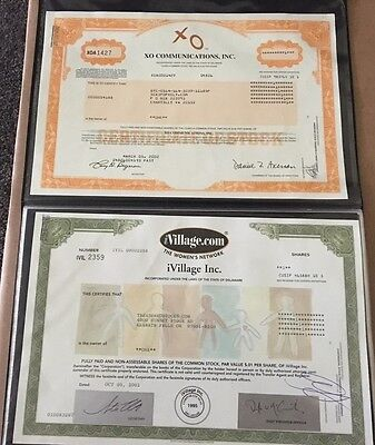 INTERNET BUBBLE STOCK CERTIFICATE COLLECTION- I-Village, Webvan, X0, AOL,E-STAMP