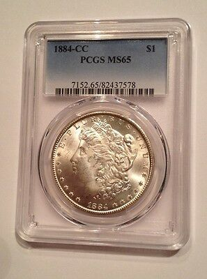 1884 CC  Morgan Silver Dollar Graded by PCGS MS65