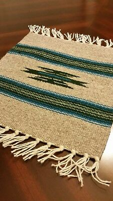 Hand Woven 100% Wool Textile Chimayo Weaving Taupe 10 by 10 Made in New Mexico