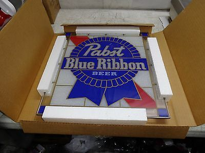 RARE VINTAGE PBR Pabst Blue Ribbon Stained Glass Sign NOS!