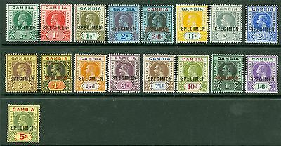 SG 86-102 Gambia 1912 MCA set of 17 values ½d-5/- overprinted specimen...