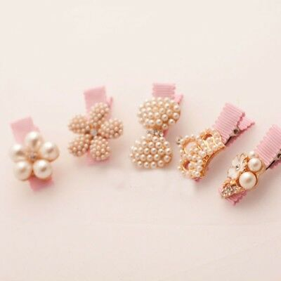 AU Baby Girls Toddler Hair Clip Flower Hairpin Party Headwear Pearl Accessories