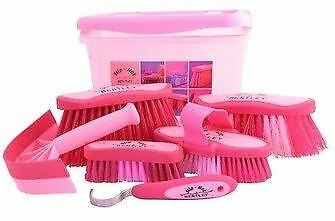Equestrian Horse Grooming Cleaning Brush Set Horse Grooming Brushes Kit Pink 7pc