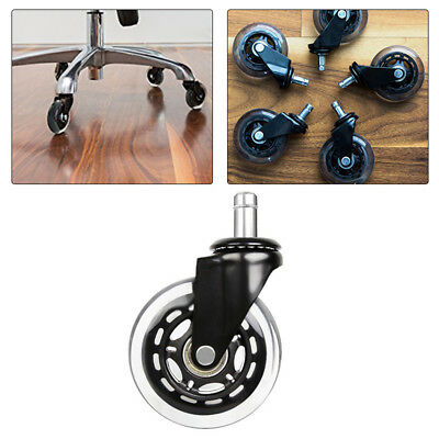 "1/2/5pcs 3"" Office Chair Rollerblade Style Soft Wheel Casters Ball Bearing Axle"
