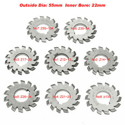 HSS 8H Set 8 Pcs Dp16 PA14-1/2 Bore22 No1-8 Involute Gear Cutters Diameter 55mm