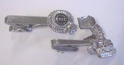 2 Tie Clip Badges BMC Nuffield Tractor Dealer, Oliver Tractor Luke Melbourne