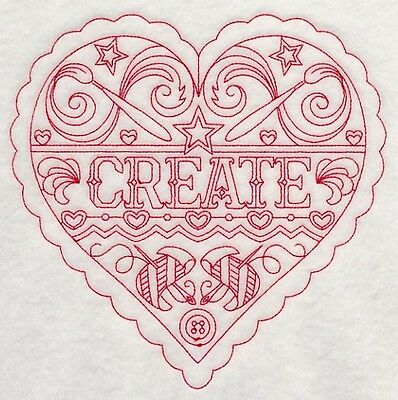 Embroidered Crafters Heart CREATE Quilting Block,Cushion, Framed, Fabric, Sewing