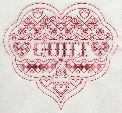 Embroidered Crafters Heart QUILT Quilting Block,Cushion, Framed, Fabric, Sewing