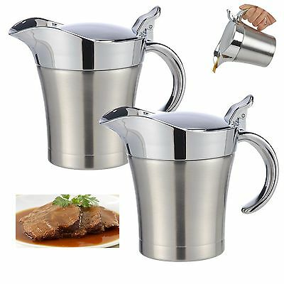 400ml Stainless Steel Thermo Gravy Boat Sauce Pot Saucepan Bowl Serving Jug