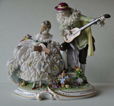 Gorgeous Large Porcelain Unterweissbach Dresden Lace Germany Figural Group