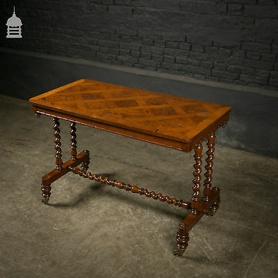 Victorian Mahogany H-Stretcher Table with Barley Twist Legs and Patterned Veneer