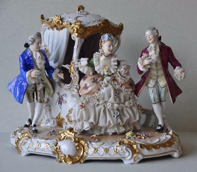 Gorgeous Porcelain Unterweissbach Dresden Lace Germany Carriage Figural Group