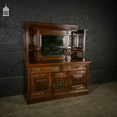 Impressive Late 19th C Arts & Crafts Solid Oak Sideboard with Liberty Styling
