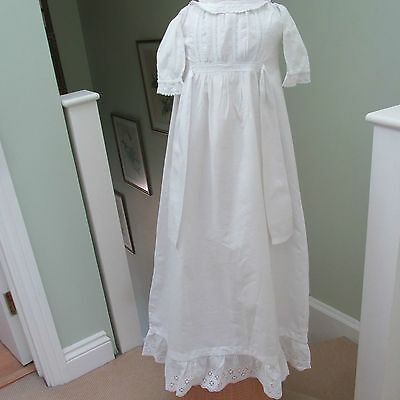 Antique/Edwardian Christening Gown, With Lace & Frilled Hem