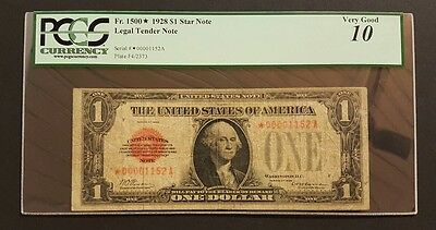 (SCARCE ☆ STAR) Fr#1500* 1928 Red Seal $1 Legal Tender Note, PCGS 10 w/ Comment