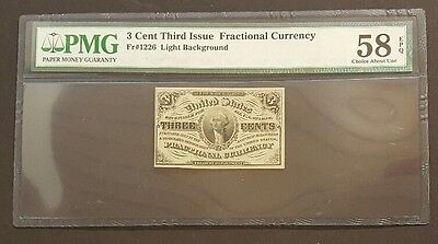 3 Cent Third Issue Fractional Currency w/ Light Background, PMG 58 EPQ Choice AU
