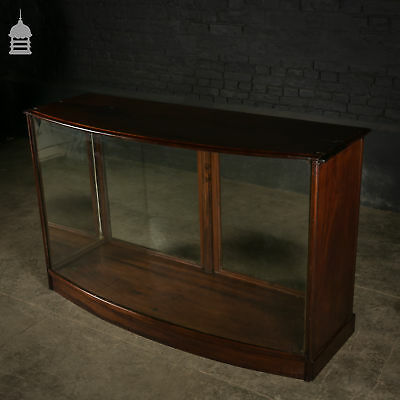 19th C Mahogany Bow Fronted Shop Display Cabinet with Mirrored Sides