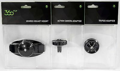 3 NEW 360fly Accessory Bundle HD Action Camera Adapter/Tripod/Helmet Mount 360
