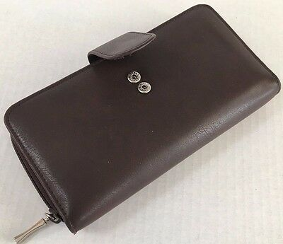 *BROWN WALLET Organizer Passport Credit Card Checkbook Money Holder Snap Zipper