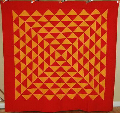 OUTSTANDING Vintage 1890s Red & Cheddar PA Mennonite Antique Quilt ~GREAT DESIGN