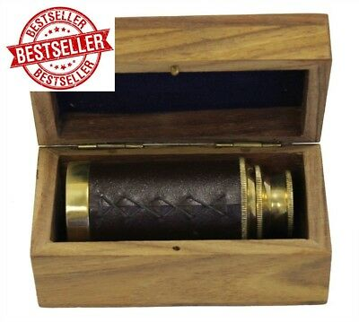 "NEW 6"" Handheld Brass Telescope with Wooden Box ship Pirate Navigation toy kids"