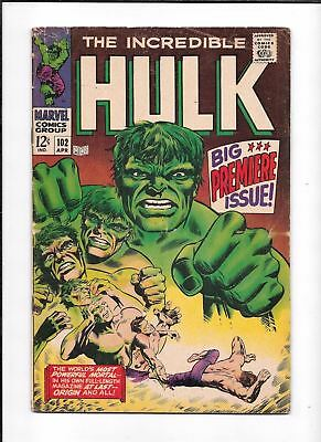 The Incredible Hulk #102 ==> Vg/fn Start Of His Own Series Marvel Comics 1968