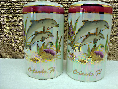 Mother of pearl orlando, fla salt & pepper shaker set.