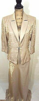 Alex Evenings Champagne Mother of the Bride Groom 2-Piece Women's Dress Size 12