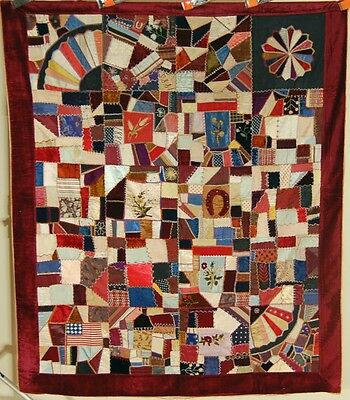 OUTSTANDING Vintage Victorian Silk Crazy Antique Quilt Dated 1885 ~AMERICAN FLAG