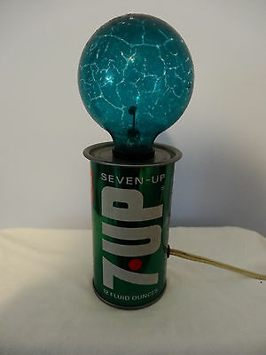 Vintage 1960's  7up Metal Soda Can Lamp w/FLICKER Light Bulb - WORKS GREAT!