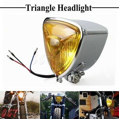 Old School Triangle Headlight Head Lamp Flat Back For Harley Chopper Bobber US