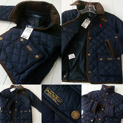 NWT Boy 4 4T Polo Ralph Lauren navy blue quilted barn jacket sewn PONY LOGO ~NEW