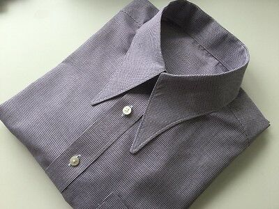"""REDUCED Men's check 1940's vintage style WWII 15.5"""" spearpoint collar shirt"""