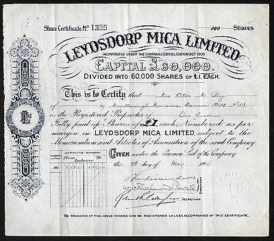 1914 South Africa: Leydsdorp Mica Limited