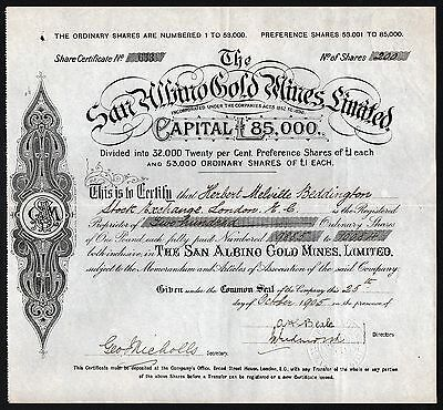 1905 Nicaragua: The San Albino Gold Mines, Limited