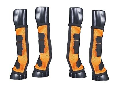 Horse Fly Boots - Set of 4 - Comfort Mesh w/Stand Up Strip - Orange - New Design
