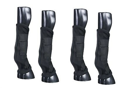 Horse Fly Boots - Set of 4 - Comfort Mesh w/Stand Up Strip - Black - New Design