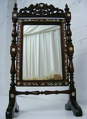Late C19th Chinese Rosewood Tilting Mirror with Mother of Pearl & Brass Inlay