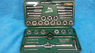 Vintage Ace Super Set Henry Hanson Tap & Die Kit  # 614 Usa Very Good Cond.