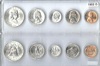 1952-D US Mint set - 5 Choice Brillaint Uncirculated coins in a Whitman holder